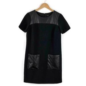 Ann Taylor Petite Dress Black Faux Leather Pockets